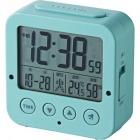 電波デジタル目覚し時計 照度センサー機能 温湿度計 ブルー