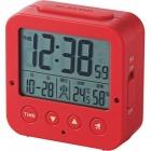 電波デジタル目覚し時計 照度センサー機能 温湿度計 レッド