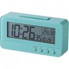 デジタル目覚し時計 コンパクトサイズ 温湿度計 ブルー