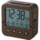 電波デジタル目覚し時計 照度センサー機能 温湿度計 ブラウン