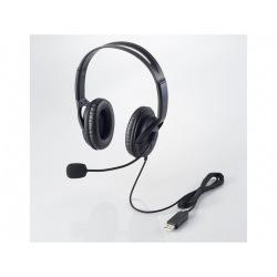 USBヘッドセットマイクロフォン/両耳オーバーヘッド/片出しケーブル/1.8m 写真1