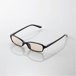 ブルーライトカット眼鏡/ブラウンレンズ/スクエアフレーム/ブラック 写真1