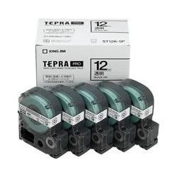 「テプラ」PROカートリッジ 透明ラベル 12mm×8m巻 黒文字 5個入エコパック 写真1