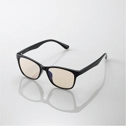 ブルーライトカット眼鏡/ブラウンレンズ/ウェリントンフレーム/ブラック 写真1
