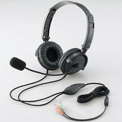 ヘッドセット(両耳オーバーヘッド)/1.8m/ステレオミニ/ブラック 写真1