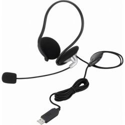USBスヘッドセットマイクロフォン/両耳ネックバンド/1.8m 写真1