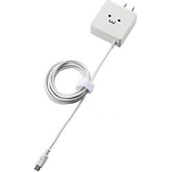スマートフォン・タブレット用AC充電器/ケーブル一体型/1.8A出力/1.5m/ホワイトフェイス 写真1