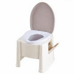 アロン化成 ポータブルトイレ楽立 AS ホワイト 写真1