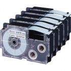 ネームランド用テープカートリッジ スタンダードテープ 18mm×8m白/黒文字 5本入