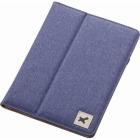 タブレット汎用ブックタイプケース/ファブリック/7.0〜8.4インチ/ブルー