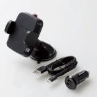 Qi規格対ワイヤレス充電器/5W/車載ホルダー/吸盤/シガーチャージャー付属/ブラック