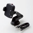 Qi規格対ワイヤレス充電器/5W/車載ホルダー/吸盤/ロングタイプ/ブラック
