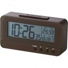 デジタル目覚し時計 コンパクトサイズ 温湿度計 ブラウン