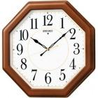 木枠スタンダード電波アナログ掛時計(八角・茶) KX389B