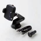 Qi規格対ワイヤレス充電器/5W/車載ホルダー/吸盤/ロングタイプ/シガーチャージャー付属/ブラック
