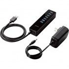 USB3.0 ハブ 7ポート ACアダプタ付 セルフパワー マグネット付 ブラック
