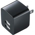 USB充電器(2ポート・合計2.4A・ブラック)