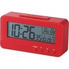 デジタル目覚し時計 コンパクトサイズ 温湿度計 レッド
