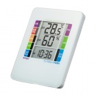 熱中症&インフルエンザ表示付きデジタル温湿度計(警告ブザー設定機能付き)