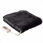 ふんわりやわらか 電気敷毛布(140×80cm) ミックスフランネル素材 ブラック