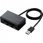 メモリリーダライタ/SD+MS+CF+XD/USB3.0ハブ付/ブラック