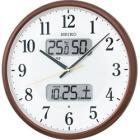 温湿度計カレンダー表示つき電波アナログ掛時計(茶) KX383B