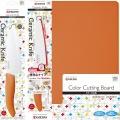 【セット買い】 京セラ 三徳包丁140mm 便利なナイフ120mmギザギザ刃 まな板 オレンジ 3点セット | ギザ刃 ペティ セット 便利 かわいい