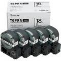 テプラテープカートリッジ 白ラベル(黒文字) 18mm幅 5個パック
