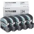 テプラテープカートリッジ白ラベル(黒文字)24mm幅5個パック