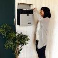 壁掛けポスト【calm】 ダイヤル式扉 ガルバナイズド加工 錆びにくい 粉体塗装 ライトグレーLGY 写真2