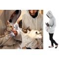 にゃんガルーパーカー ホワイト Lサイズ 下を支えてスリング的な使い方 猫じゃらし機能付きパーカー ねこあつめグッズ わんちゃんにも 写真3