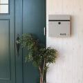 壁掛けポスト【calm】 ダイヤル式扉 ガルバナイズド加工 錆びにくい 粉体塗装 ライトグレーLGY 写真9